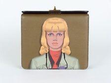 PRADA S/S 2014 RUNWAY  Saffiano Leather Face Art Portrait Clutch Purse Bag NWT