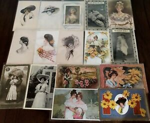 Lot of 16 Pretty Ladies ~Vintage Lady Women Antique Postcards-h561