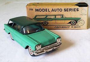 Early Bandai Toys Japan Friction 1958 CHEVROLET STATION WAGON CAR SUPER RARE MIB