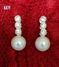 Pearls Diamante Jewellery Crystal Earrings SilveTone Wedding Bridal Party Gift