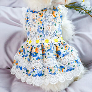 Summer New Small Pet Dog Dress Cute Floral Lace Princess Skirt Puppy Cat Clothes