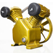 3HP 2 Piston V Style Twin Cylinder Air Compressor Pump Motor Head Air Tool, Gold