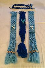 Vtg 1970's 4-pc Blue Macrame Wall Hanging w/ Ceramic Butterfly Wooden Beads Mint