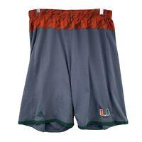 Adidas Mens University of Miami Hurricanes Athletic Gray Orange Shorts Large UM