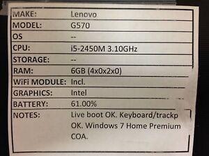 Lenovo G570 *Parts/Repair* i5/6GB/BATT - No OS/HDD/CHRG