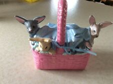 Vintage Ceramic Easter Basket With Lid, Pink With Blue Blanket, 5 Bunnies On Top