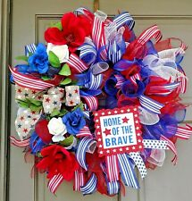 Memorial Day 4TH Of July Patriotic Home Of The Brave Deco Mesh Rose Door Wreath
