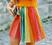 $1,950 Valentino Rainbow Stripe Lace Embroidered Floral Dress Skirt IT 42 / US 6