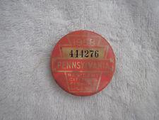Vintage 1958 PA Pennsylvania Resident Fishing Badge License Pinback Button