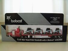 WAN HO - FLAT BED TRACTOR TRAILER WITH 4 BOBCAT 753 SKID STEER LOADERS - 1/50
