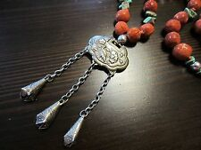 Antique VTG Chinese Sterling Silver Pendant Turquoise Sponge Coral Bead Necklace