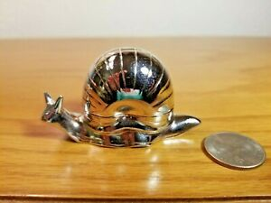 """Vintage Hinged Small SNAIL Silverplate Butter Dish Holder 2-3/4"""" Wide"""
