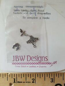 JBW DESIGNS Charm Embellishments for Cross Stitch SPRING ORNAMENTALS Silver Bird