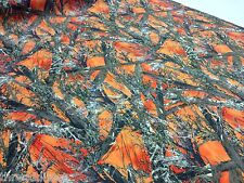 "Auto Pro Camo MC2 Blaze Orange Cotton Poly Water Repellent Twill Fabric 60""W DWR"