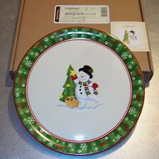 Longaberger Holiday Pottery Bluster Snowman Platter ~ Brand New in Original Box!