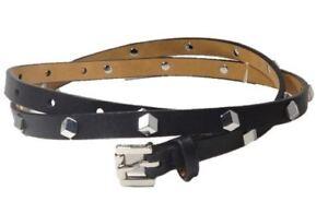 Michael Kors Skinny Leather Belt Silver Studs, Medium 40, Black