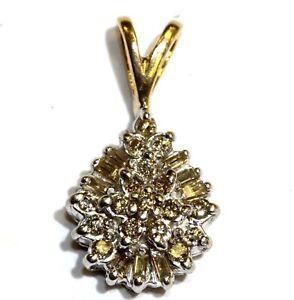 10k yellow white gold .26ct diamond cluster pendant slide 1.2g estate vintage