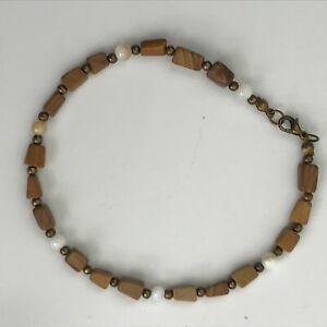 """Handmade Anklet Brown Picture Jasper White MOP Shell Ankle Bracelet 9.75"""" Bronze"""