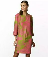 LILLY PULITZER PINK & GREEN 'QUEEN OF HEARTS' SILK SHIFT DRESS SZ.4