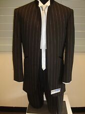 Black 100% Fine Wool Pinstripe Nehru Tuxedo w/ Pants - 50 Reg 42W (FREE HEM)