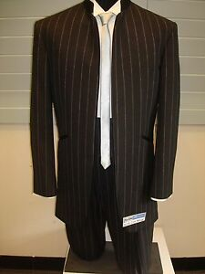 Black 100% Fine Wool Pinstripe Nehru Tuxedo w/ Pants - 38 Reg 31W (FREE HEM)