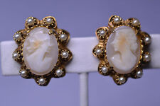 VINTAGE GOLD-PLATED OVAL CARVED SHELL CAMEO CLIP EARRINGS WITH FAUX PEARL BORDER