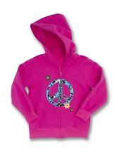 KELLY'S KIDS Raspberry Pink Fleece Zip Up Peace Sign Hoodie Size 4-5 Reg