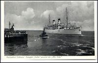 CUXHAVEN um 1925 Schiff Dampfer ITALIA passiert die Alte Liebe im Hafen alte AK
