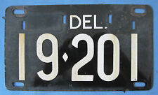 Delaware old porcelain license plate nice with original finish