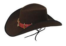 FANCY DRESS BROWN COWBOY HAT WITH TEETH CROCODILE AUSTRALIAN ADULT SIZE