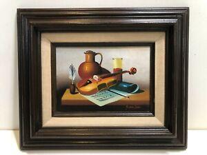 "Vintage Frank Lean Original Oil Painting on Board, Still Life, 6 3/4"" x 5"" Image"