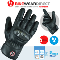 Motorcycle Motorbike Leather Gloves Winter Thermal Waterproof CE Protectors Bike