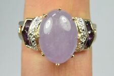 Women's Amethyst, Jade, Diamond Cocktail Ring in 14k Solid Yellow Gold Thailand