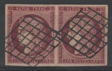 "FRANCE YVERT 6B SCOTT 9b "" CERES 1F BROWN CARMINE PAIR 1849 "" USED VVF P294"