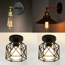 E27 Retro Metal Cage Industrial Wire Frame Pendant Light Loft Ceiling Lamp Shade