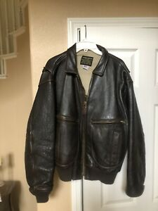Avirex Mens Size 42 Leather Flight Bomber Navy G-2 Vintage Jacket Unused!