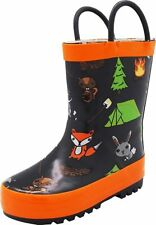 NORTY Waterproof Rubber Rain Boots for Girls & Boys - Toddlers & Big Kids - Soli