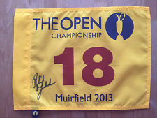 Phil MICKELSON SIGNED AUTOGRAPH AFTAL COA 2013 Golf Flag Open Winner