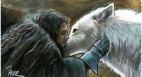 Game of Thrones JON & GHOST Aegon Dire WOLF WIDE SKETCH Card PRINT 1 of 10 ART