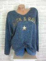 38 40 42 feinstrick Pullover Pulli Tunika Shirt Oversize lurex Blau E871 NEU