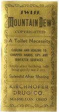 Label-original Swiss MOUNTAIN DEW,Kirchhofer Drug,Massillon,OH.1940s. melaneybuy