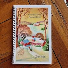 CHRISTMAS CARD ADDRESS BOOK Organizer A-Z Personalized Gift 8 yrs Snow House 230