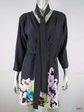 DVF 10 Black Pink Multi 100% Silk Wrap Dress Belt M EUC
