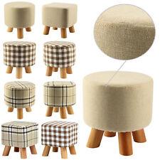 Modern Luxury Upholstered Footstool Ottoman Round Pouffe Stool + Wooden Leg