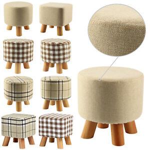 Modern Luxury Upholstered Footstool comfortable Round Pouffe Stool + Wooden Leg