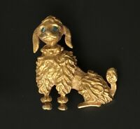 Adorable Vintage Poodle dog brooch in gold tone metal