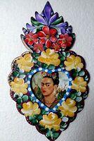 "Mexican Folk Art Hand Painted Tin Frame Frida Kahlo Heart Wall Display 14"""