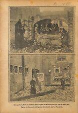 Tombeau Eglise Ramskapelle Nieuport & Termonde Belgique  WWI 1915 ILLUSTRATION