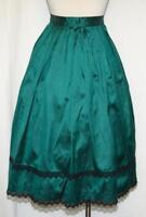 SILK SKIRT GREEN Full Swing Dirndl Trachten German Women LACE ~ CLASSY Suit 8 S