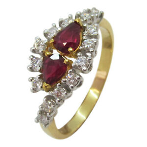 18ct Yellow & White Gold Pear Shaped Ruby and 0.28ct Diamond Fancy Dress Ring